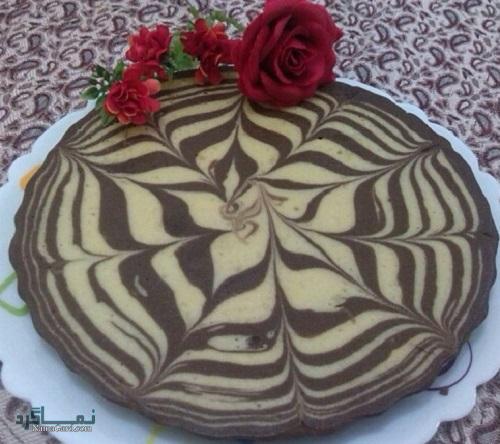 کیک زبرا | طرز تهیه کیک زبرا ساده + فیلم آموزشی