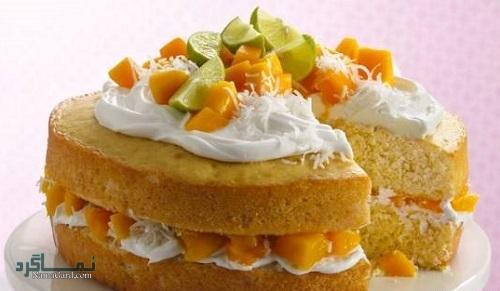 مراحل طرز پخت کیک انبه خوش طعم + فیلم آموزشی
