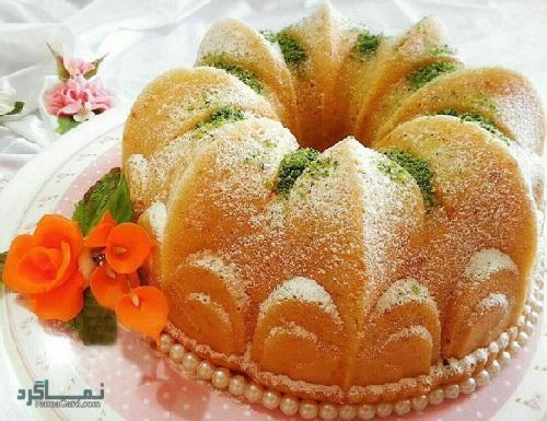 طرز تهیه کیک پسته خوش طعم + تزیین
