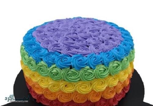 روش پخت کیک رنگین کمان قشنگ + فیلم آموزشی