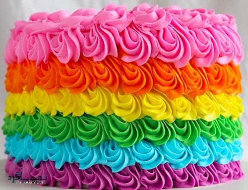 روش پخت کیک رنگین کمان قشنگ + تزیین