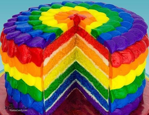 کیک رنگین کمان خوشمزه + تزیین