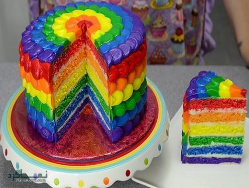 دستور پخت کیک رنگین کمان + فیلم آموزشی