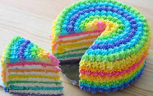 کیک رنگین کمان | طرز تهیه کیک رنگین کمان خوشمزه + فیلم