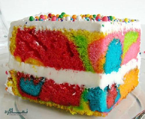 روش پخت کیک رنگین کمان + تزیین