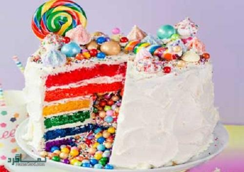 روش پخت کیک رنگین کمان