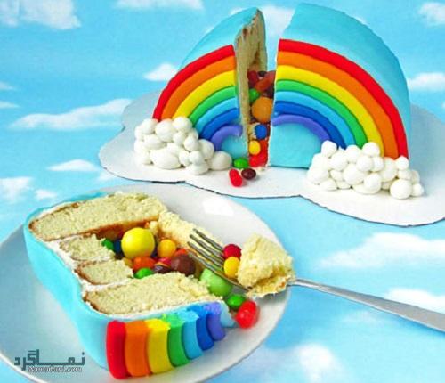 مراحل تهیه کیک رنگین کمان زیبا + تزیین