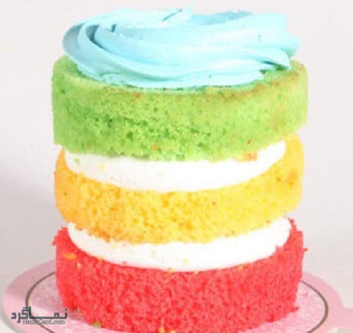 روش پخت کیک رنگین کمان قشنگ