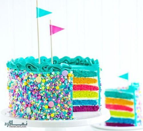 کیک رنگین کمان زیبا