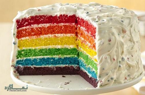 کیک رنگین کمان شیک