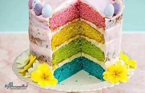 نحوه پخت کیک رنگین کمان شیک