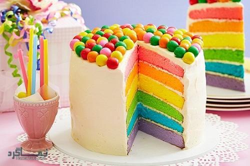 کیک رنگین کمان + تزیین