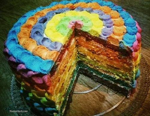کیک رنگین کمان زیبا + فیلم آموزشی