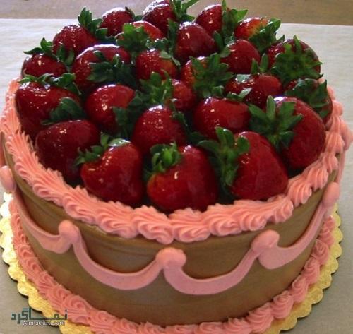 کیک توت فرنگی + تزیین