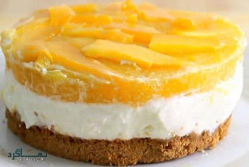 چیز کیک هلو خوشمزه + تزیین