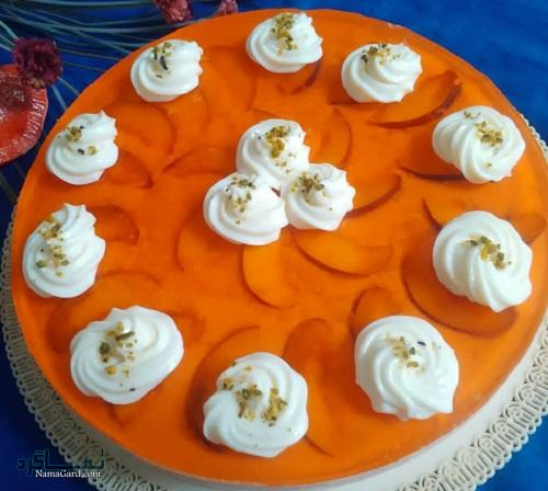 مراحل روش پخت چیز کیک هلو خوشمزه + تزیین