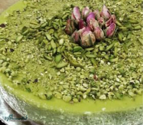 مراحل تهیه چیز کیک پسته لذیذ + تزیین