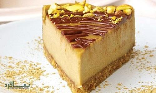 طرز تهیه چیز کیک پسته خوشمزه + تزیین
