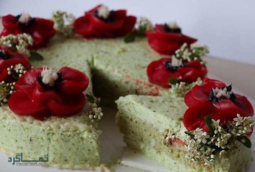دستور تهیه چیز کیک پسته شیک + تزیین