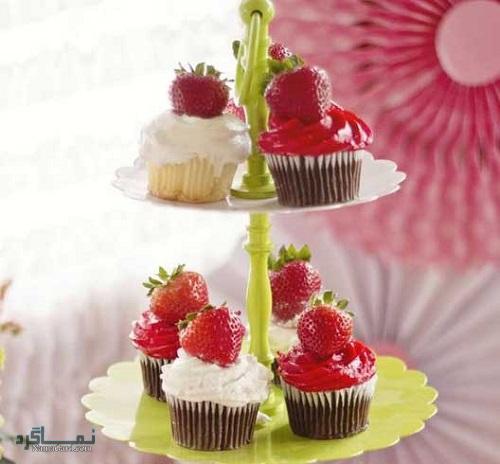 کاپ کیک توت فرنگی خوشمزه + تزیین