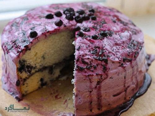 طرز تهیه کیک بلوبری خوشمزه + تزیین