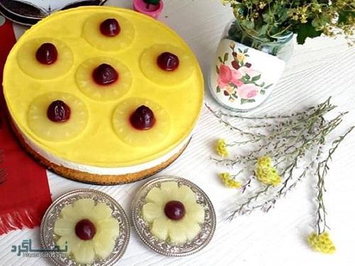 چیزکیک آناناس خوش طعم + تزیین