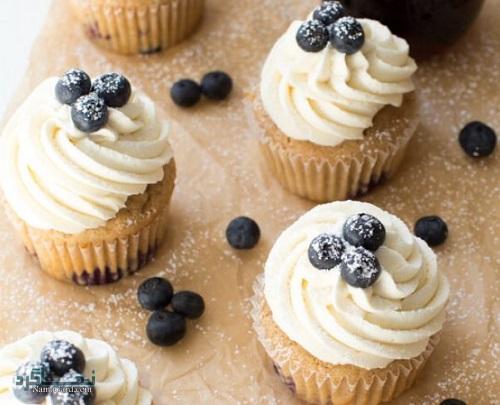 کاپ کیک بلوبری خوش طعم + تزیین