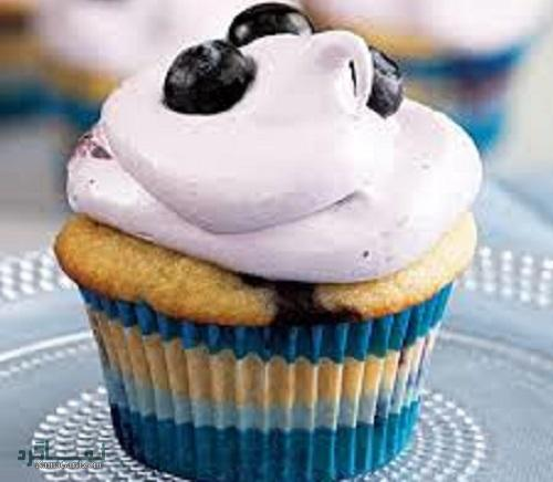 روش پخت کاپ کیک بلوبری خوش طعم + فیلم آموزشی