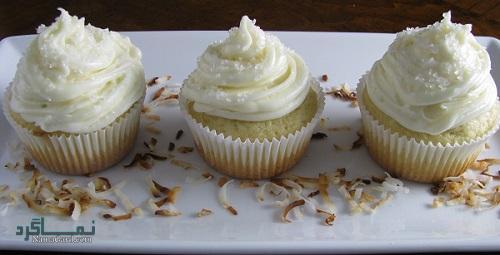طرز تهیه روکش خامه ای کاپ کیک نارگیلی