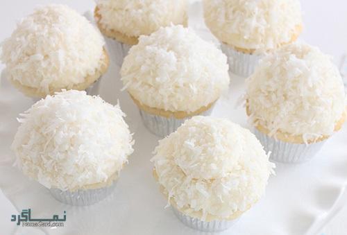 کاپ کیک نارگیلی خوشمزه + تزیین