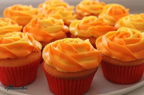 کاپ کیک پرتقالی خوش عطر + تزیین