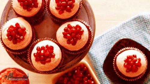 طرز تهیه روکش خامه ای کاپ کیک انار + تزیین