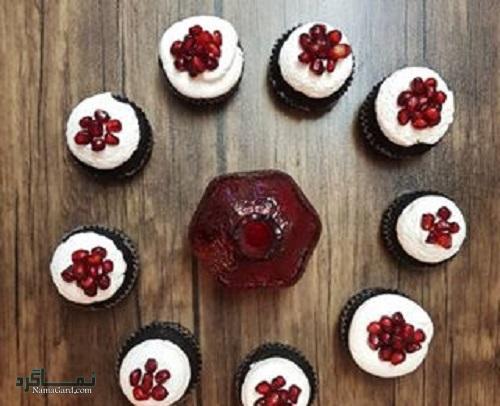 کاپ کیک انار شیک + تزیین