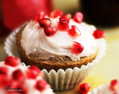 طرز تهیه روکش خامه ای کاپ کیک انار