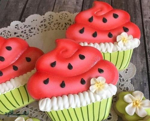 طرز تهیه کاپ کیک هندوانه یلدایی