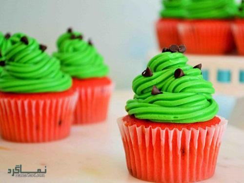 کاپ کیک هندوانه + فیلم آموزشی