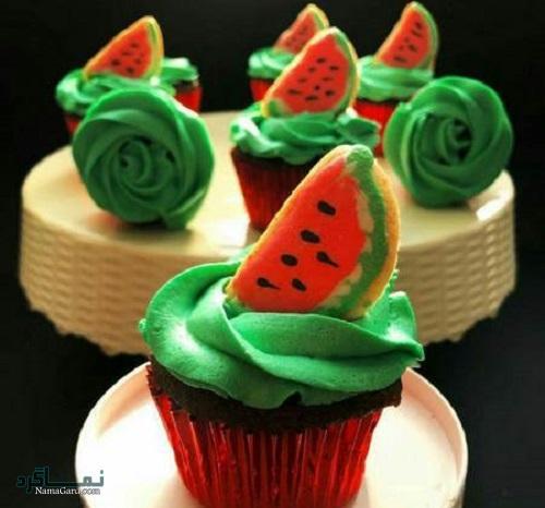 کاپ کیک هندوانه + تزیین