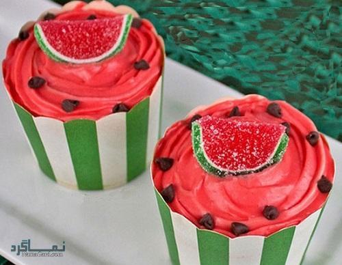 کاپ کیک هندوانه خوش طعم + فیلم آموزشی