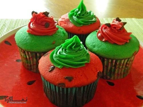 طرز پخت کاپ کیک هندوانه شیک