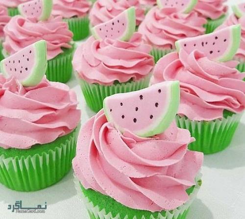 فیلم آموزشی طرز پخت کاپ کیک هندوانه شیک