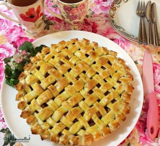طرز تهیه شیرینی پای سیب ساده + تزیین