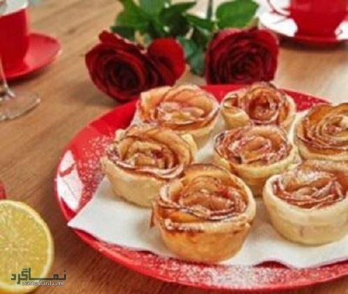 مراحل نحوه پخت تارت گل رز زیبا