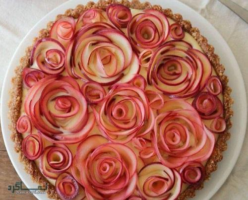 نحوه پخت تارت گل رز زیبا + تزیین
