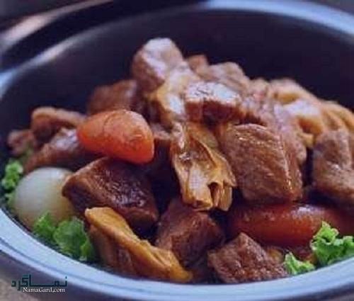 مراحل روش پخت خورشت چینی با گوشت