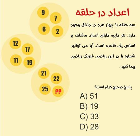 معما و تست هوش ریاضی پیدا کردن اعداد گمشده + جواب