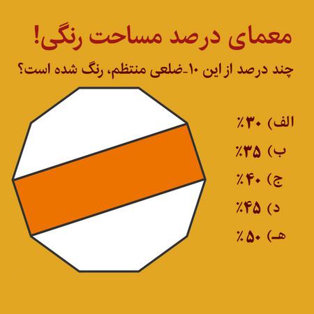 معمای ریاضی سخت، حدس مساحت رنگی + همراه با جواب