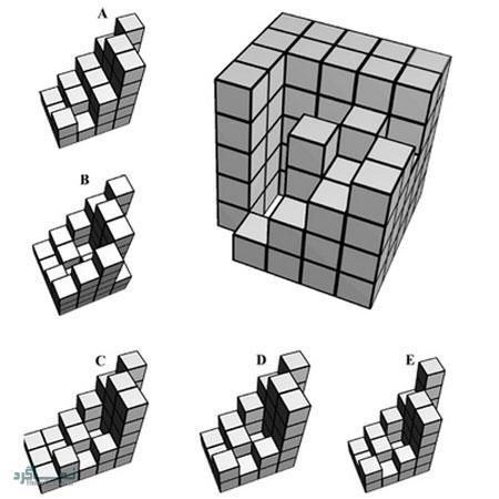 تست هوش تصویری مکعب و حدس گزینه صحیح جالب (02) + جواب