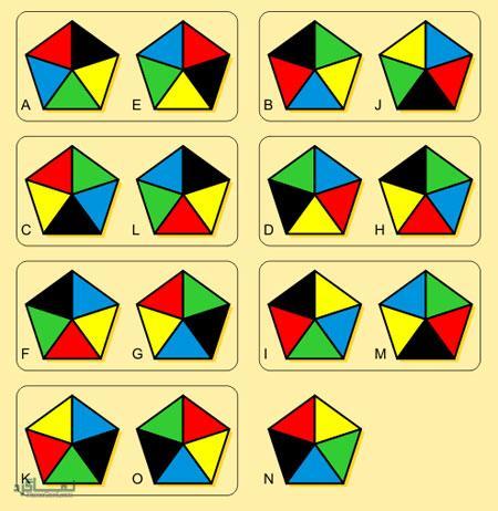 تست هوش تصویری جدید پنج ضلعی های مشابه + جواب