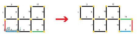 تست هوش تصویری جدید مربع و چوب کبریت + با جواب