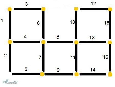تست هوش تصویری جدید مربع و چوب کبریت (01) + با جواب